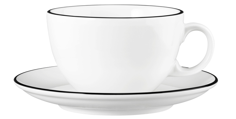 Modern Life Milchkaffeetasse 0,37 l mit Untertasse Black Line