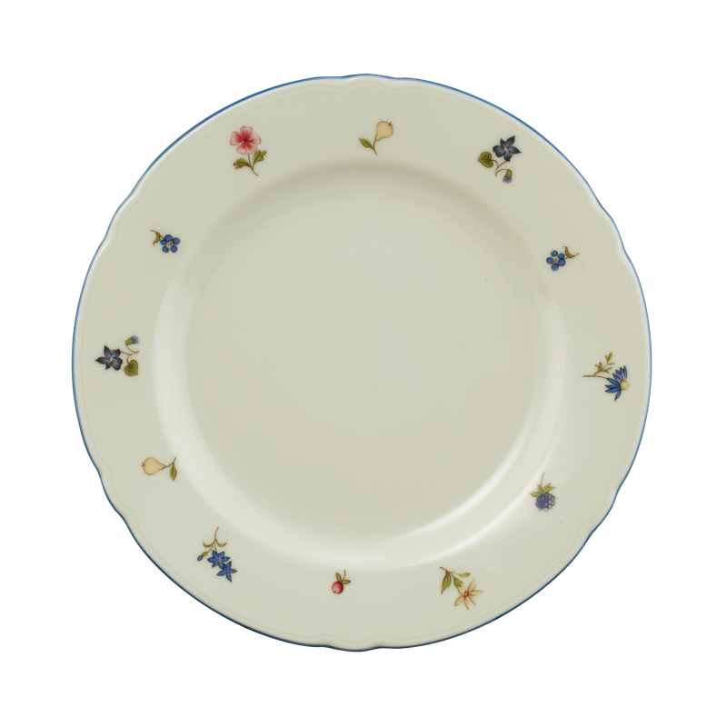 Marie-Luise Frühstücksteller 20 cm Streublume blauer Rand
