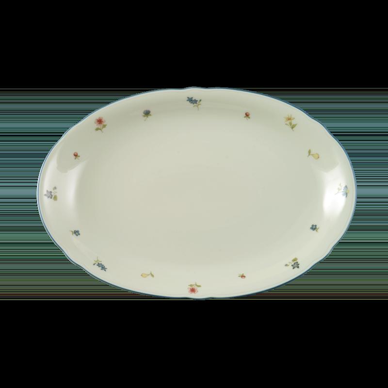 Marie-Luise Platte oval 31 cm Streublume blauer Rand