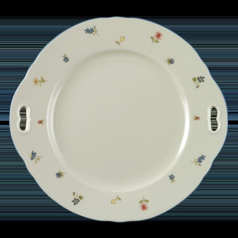 Marie-Luise Kuchenplatte mit Griff 27 cm Streublume blauer Rand