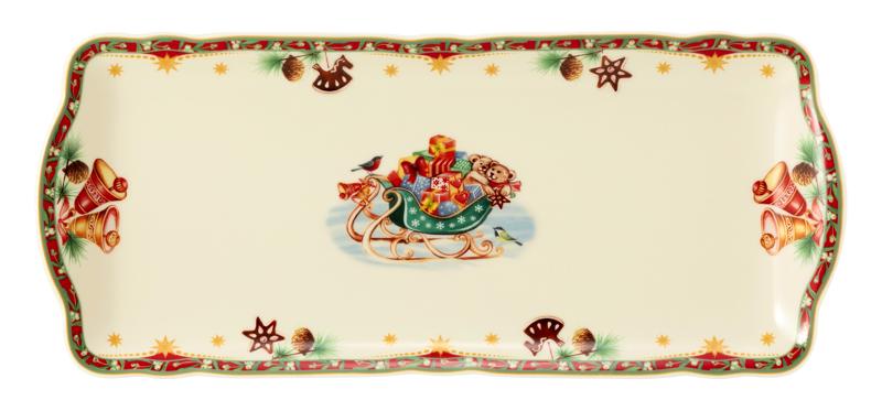 Marie-Luise Kuchenplatte eckig 34,5x15 cm Weihnachtsnostalgie