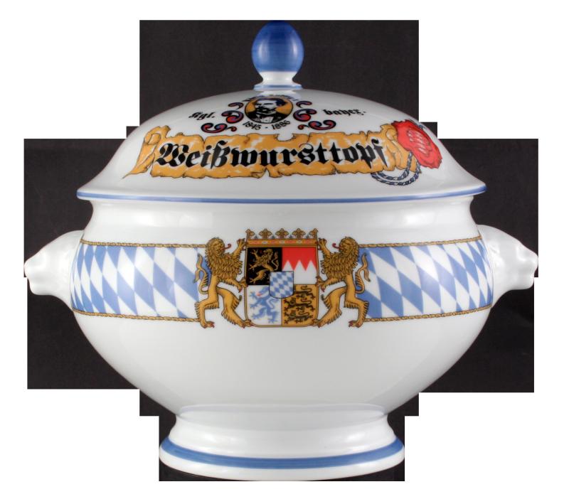 """Compact Terrine Löwenkopf mit Deckel """"Weißwursttopf"""" 3,00 l Bayern"""