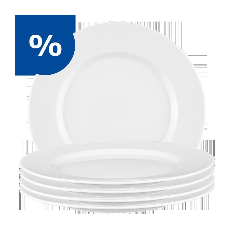 No Limits Sparset Frühstücksteller weiß - 6 für 5