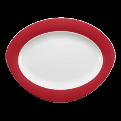 Trio Platte oval 31 cm Rubinrot