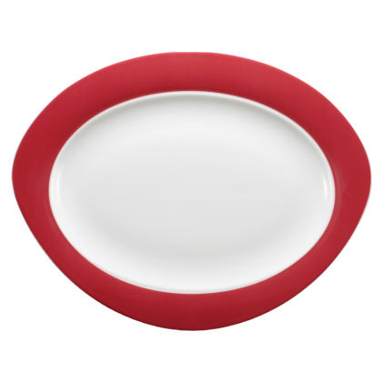 Trio Platte oval 35 cm Rubinrot