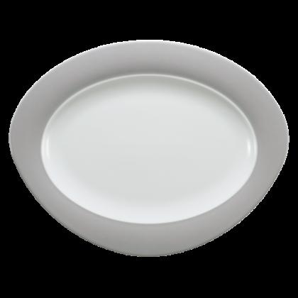 Trio Platte oval 35 cm Steingrau