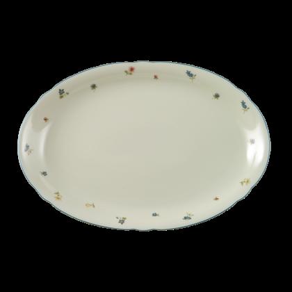 Marie-Luise Platte oval 35 cm Streublume blauer Rand