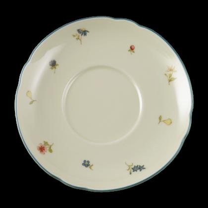Marie-Luise Untertasse zur Frühstückstasse 16 cm Streublume blauer Rand