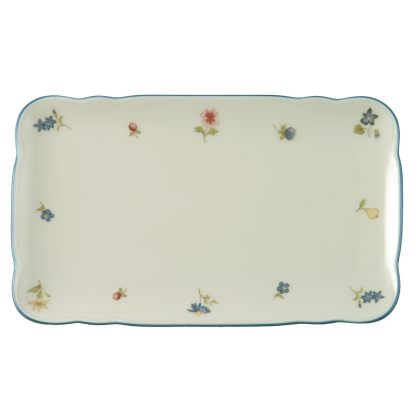Marie-Luise Butterplatte 20 cm Streublume blauer Rand