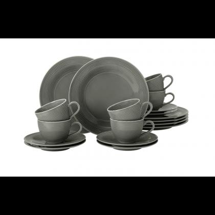 Beat Kaffeeservice 18-teilig Color Glaze Perlgrau