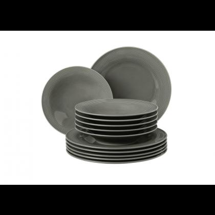 Beat Tafelservice 12-teilig Color Glaze Perlgrau