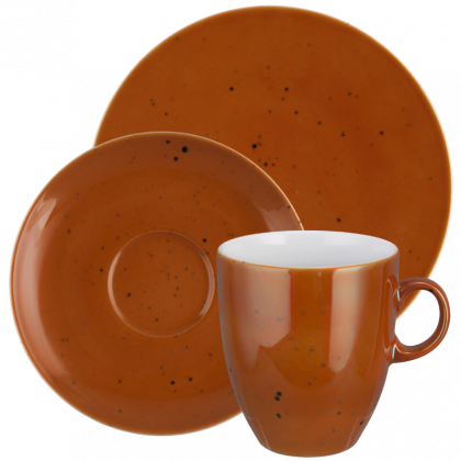 Coup Fine Dining Kaffeeservice hohe Tassen 18-teilig Country Life terracotta