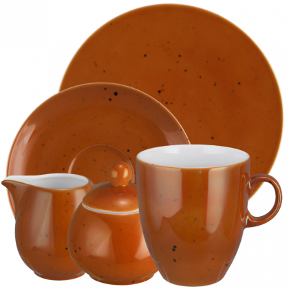 Coup Fine Dining Kaffeeservice hohe Tassen 20-teilig Country Life terracotta