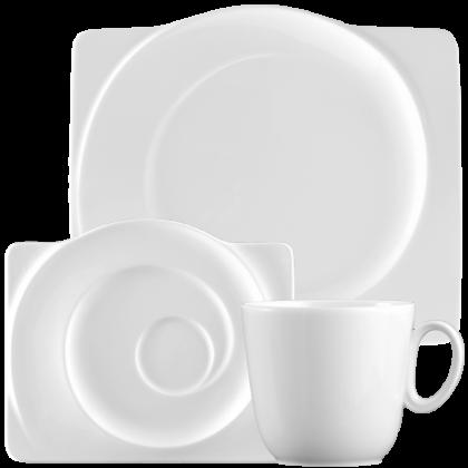 Paso Kaffeeservice 18-teilig eckig weiß
